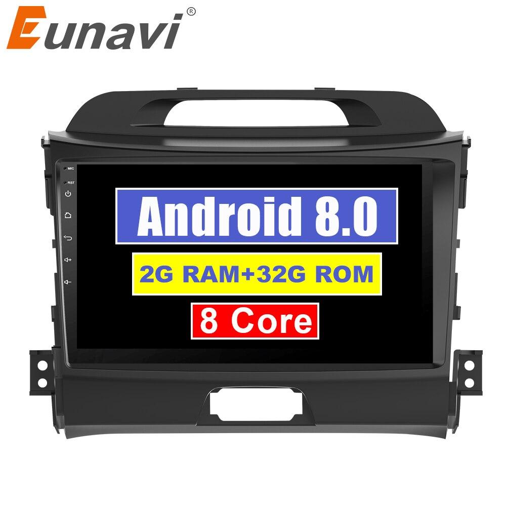 "Eunavi 2 din 9 ""Android 8,1 Octa core reproductor de radio dvd coche para KIA sportage 2011, 2012, 2013, 2014 unidad de cabeza 2015 gps estéreo wifi"