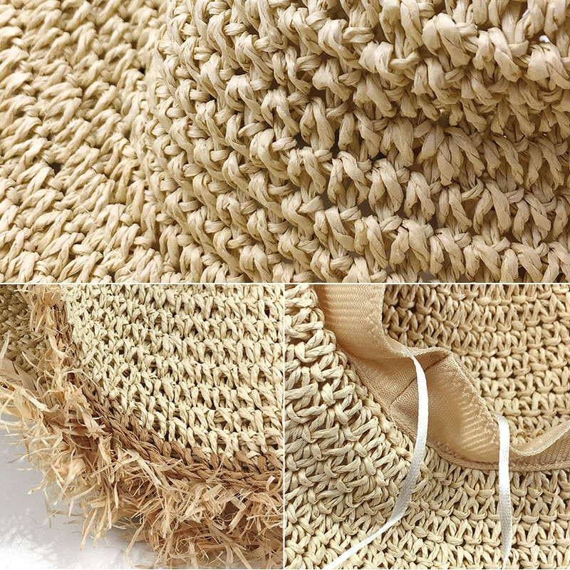 Summer Beach Tassel Straw Sun Hat for Women Handmade Fine Braid Fedora Wide Brim Visors Hat Vintage Ladies Protection Caps