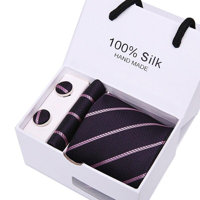 7,5 cm flecha Paisley rayas corbata de hombre de boda corbatas de los hombres Gravata Bussiness hombres corbata pañuelo caja de regalo con gemelos embalaje