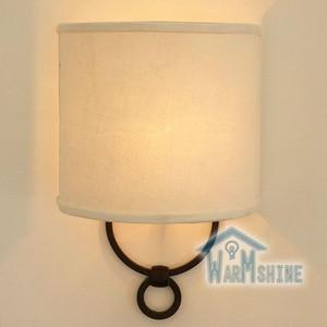 American Rural iron art wall lamp retro simple single head living room study bedroom flax fabric wall lamp