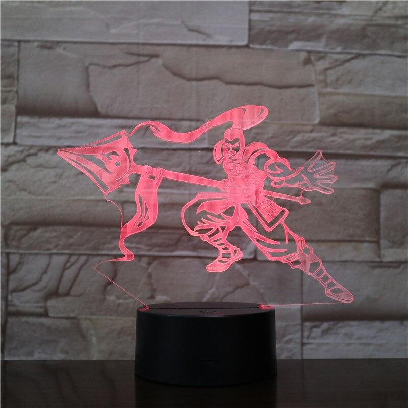 League of Legends LoL héroes lámpara de mesa dormitorio Sensor táctil 7 Color que cambia el SENESCHAL de DEMACIA Xin Zhao LED luz de noche