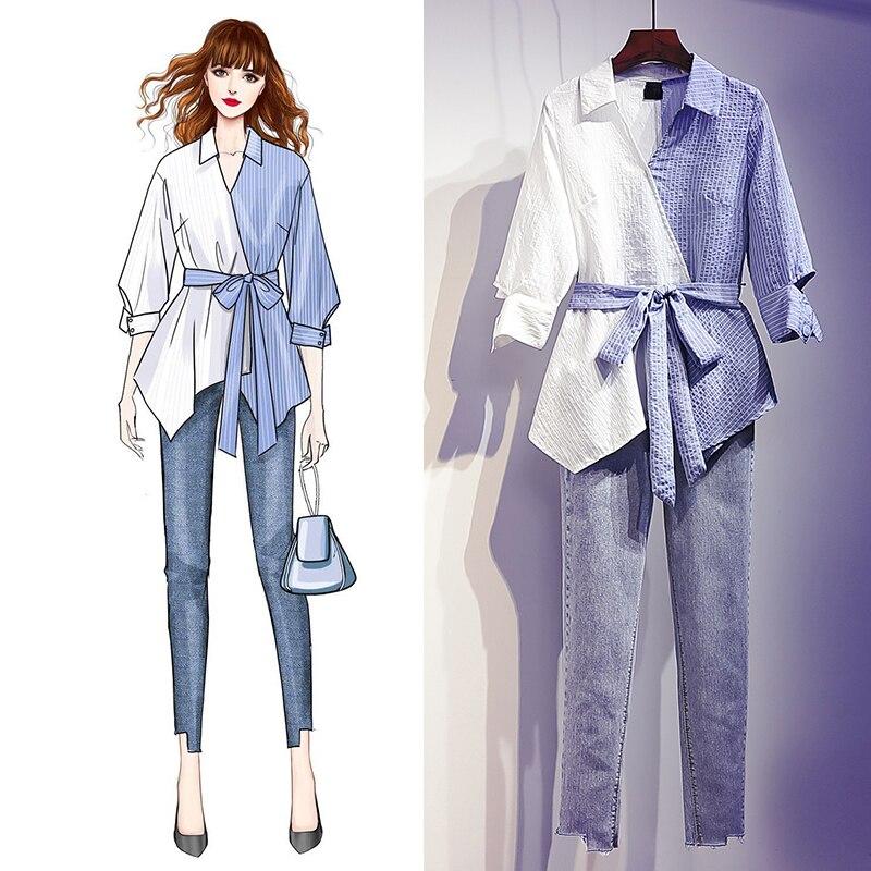 ملابس نسائية طقم جديد مكون من قطعتين كاجوال مقاس كبير 4XL مناسبة للربيع والصيف ضيقة وفضفاضة تسع سراويل معطف للسيدات