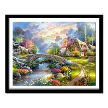 Diamond Paintings Cross Stitch 5D Diamond Embroidery Landscape Bridges Pasted Diamond  Room Decor Landscape Scenery 16A323