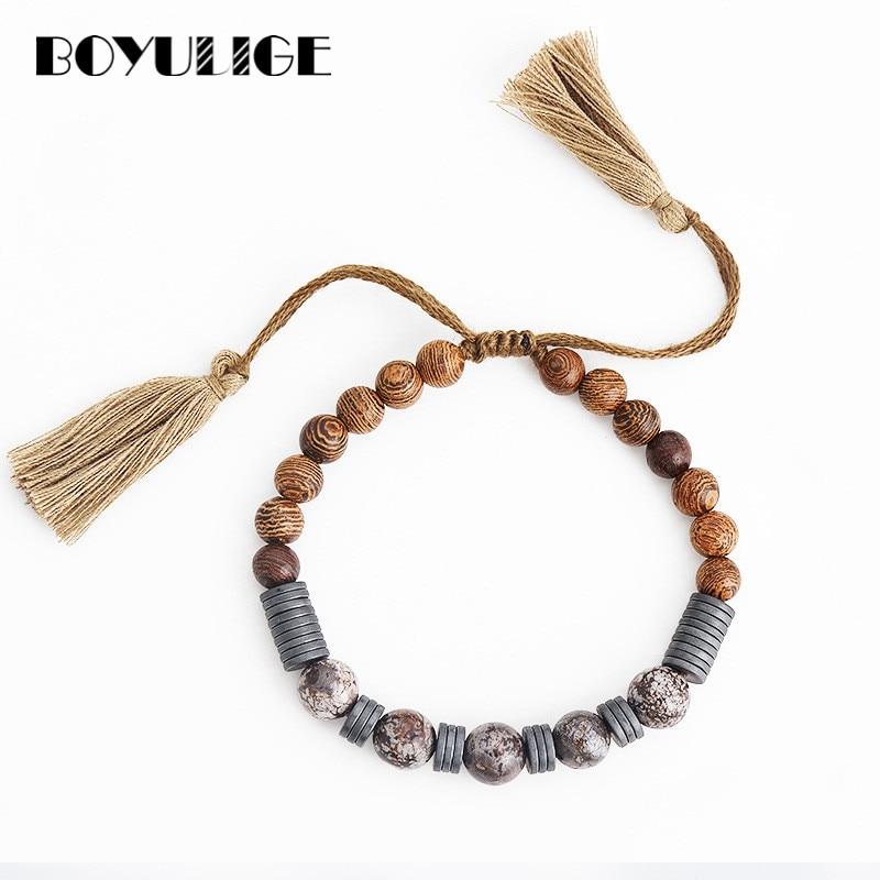 2018 quente boêmio strand pulseira para mulher homem pulseira de pedra natural grânulo jóias de madeira moda encantos presente pulseira diy boyulige