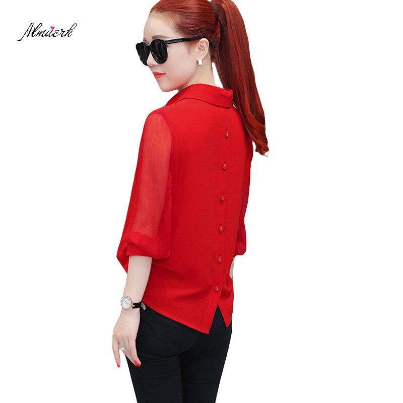Mujer Primavera de manga larga de gasa shirt2018 mujeres coreanas delgadas de color sólido párrafo corto señoras temperamento blusa camisa p186