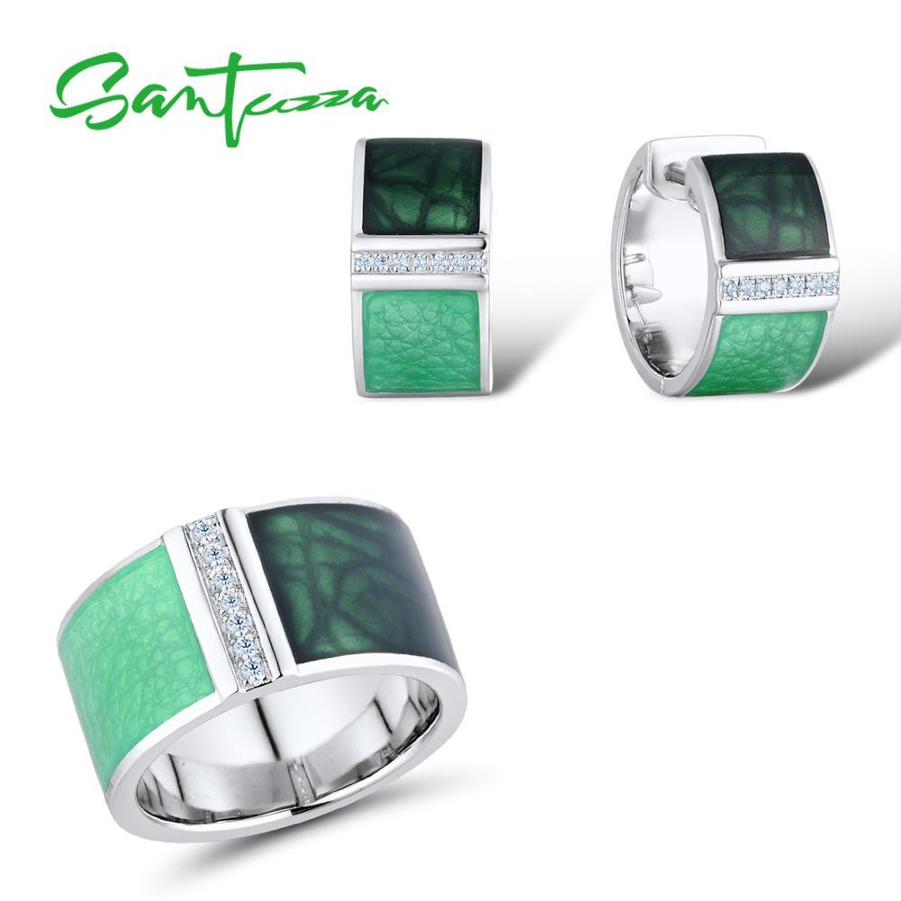 SANTUZZA 925 طقم مجوهرات فضة للنساء الأخضر هندسية مربع مجموعة أقراط الطوق مجموعة مجوهرات فاخرة اليدوية المينا