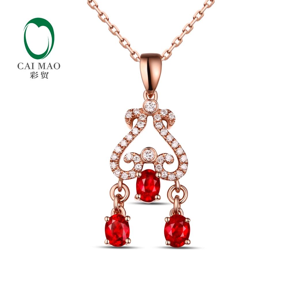 CaiMao 14KT/585 or Rose 0.95ct rubis rouge naturel 0.17ct taille ronde diamant fiançailles pendentif bijoux