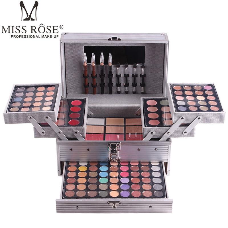 MISS ROSE cosmetic case aluminum makeup set matte shimmer eye shadow,concealer,lipgloss,blush powder,eyebrow,lip eye liner pen