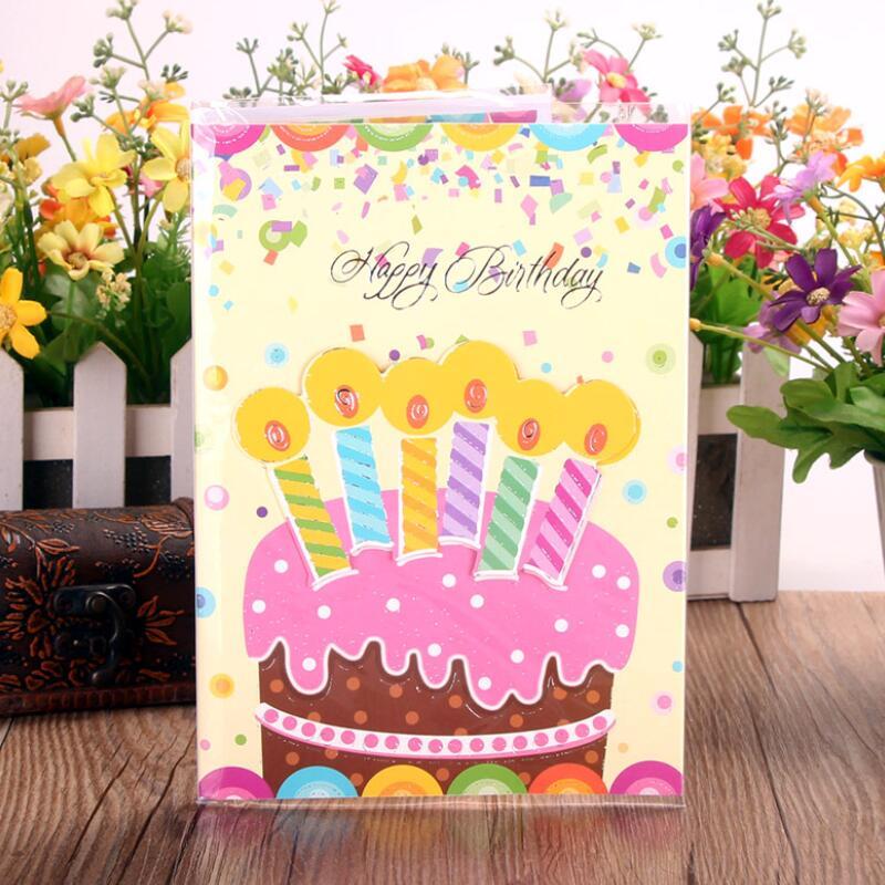 5 pçs/lote Música Cartão Do Bolo de Aniversário Crianças Especial Hoje Desejo Cartão Tri-fold Cartão da Mensagem do Presente Da Música