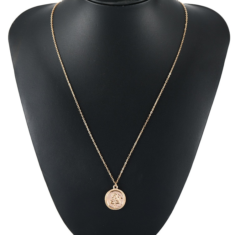 COLLAR COLGANTE redondo de aleación de oro para mujer collar de moneda de cadena larga Simple para mujer collar de moda Rosa Envío Directo