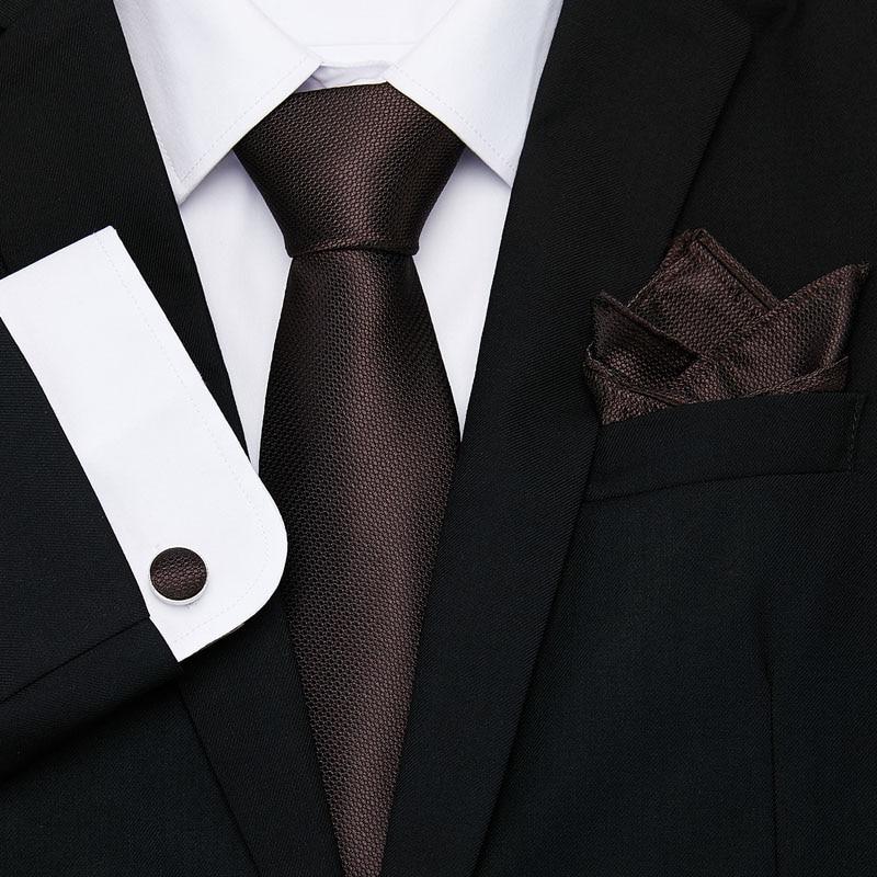 Nice Brown Solid Paisley Tie Set Silk Jacquard Mens Necktie Gravata Hanky Cufflinks Set Pocket Handkerchief Mens Tie for Wedding