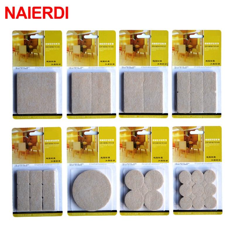 Самоклеящиеся коврики NAIERDI 2-32 шт., круглые мебельные накладки для ножек стола, стула, защитные напольные квадратные Противоскользящие коври...