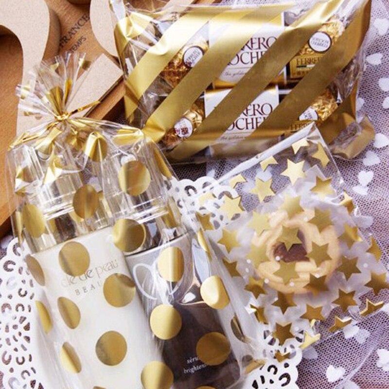 50 Uds 8*10 + 3cm bolsa de regalo de galletas adhesiva de GOLDEN STAR blanca para DIY caja de dulces bolsas de embalaje de alimentos organizador para presentación de joyas