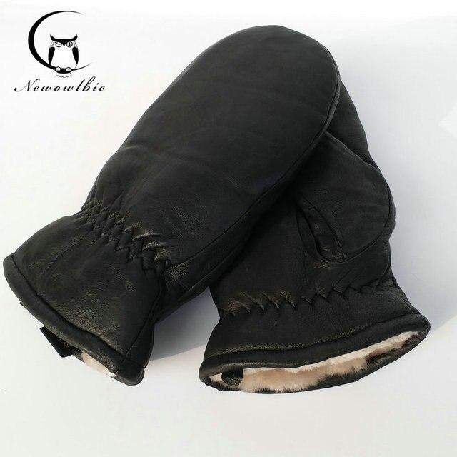 2021 Men sheepskin gloves genuine leather glove for men winter Outdoor warm fur thickening thermal gloves