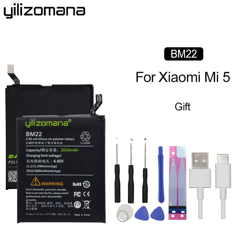 Batería de teléfono YILIZOMANA BM22 para Xiaomi mi 5 mi 5 batería de repuesto de alta capacidad baterías de teléfono + Cable 2910mAh 3000mAh