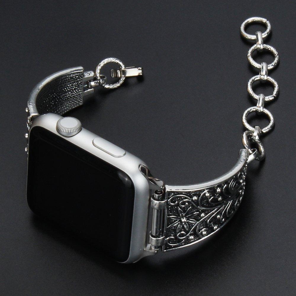 Pulsera de joyería Vintage para apple watch 44mm 40mm Correa iwatch serie 5 4 3 2 38mm 42mm Retro ajustable Cierre de pulsera de Metal