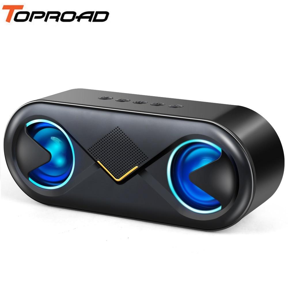 TOPROAD portátil 10W Bluetooth altavoz HIFI gran potencia inalámbrica caja de sonido Subwoofer columna Stereo Bass altavoces soporte TF AUX USB