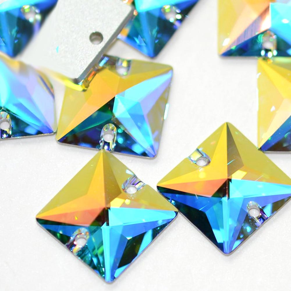 Top 6A piedras 3240 Cristal AB cuadrado coser en diamantes de imitación cuadrados costura parte posterior plana Rhinestone cristal DIY Strass artesanía suministros