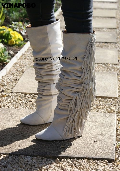 Nova marca de moda feminina botas de franja de camurça alta botas preto/branco/cinza plataforma cunhada botas longas