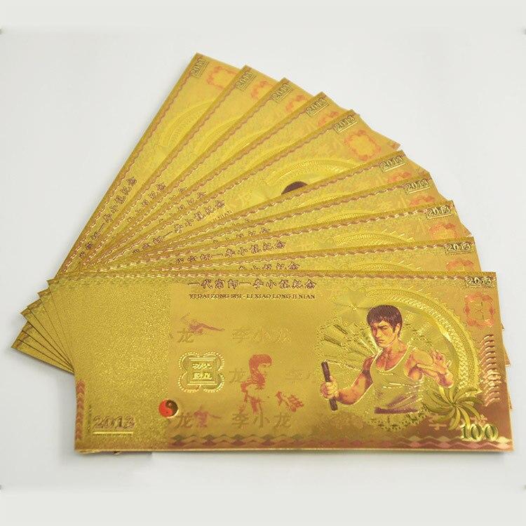 Venta al por mayor, billete de hoja de oro, increíble, billete coloreado de Metal, de lujo, para la colección de valores, 100
