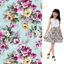Offre spéciale fleurs roses bleues 100% coton   Tissu en popeline, 2 mètres, largeur 1.5 mètres, vente en gros