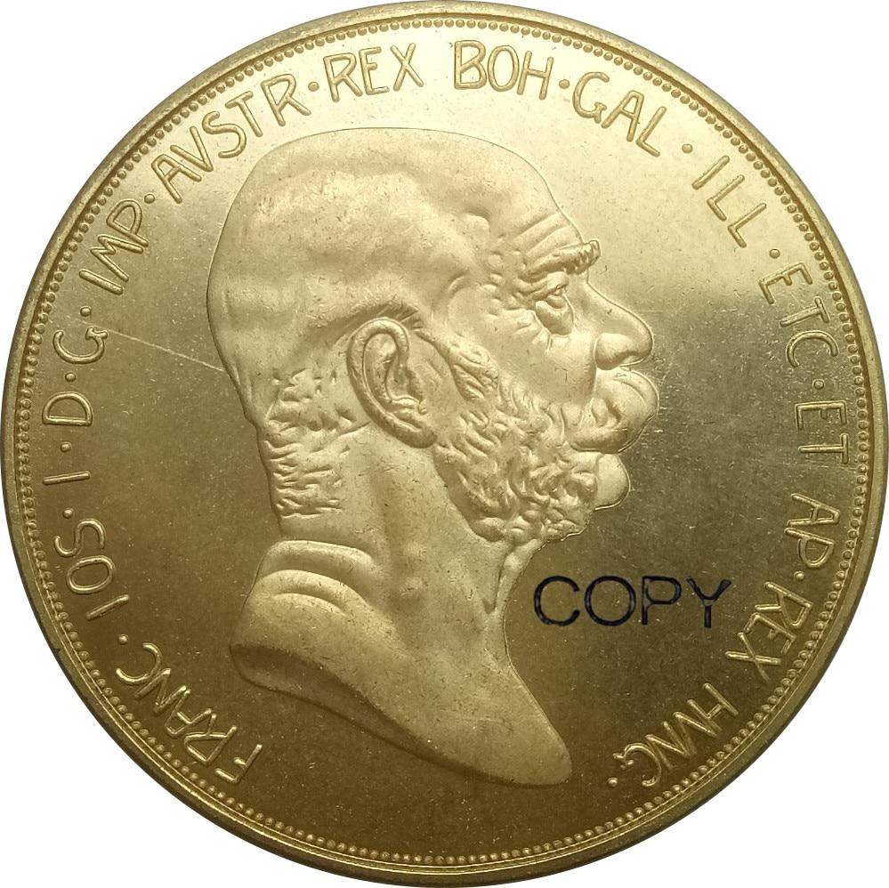 Áustria Hungria 100 Corona 1908 Franz Joseph I 60th Aniversário do Reinado Cópia Moeda de Ouro de Bronze do Metal Moeda MOEDAS Comemorativas
