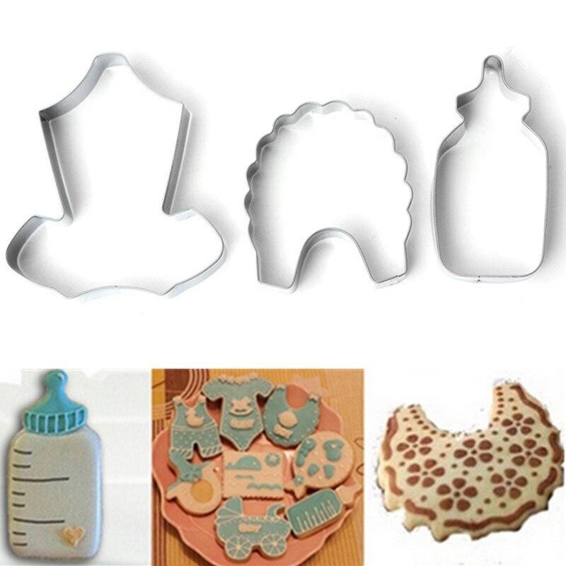 DIY Baby Shower Bib galletita de chocolate cortador molde Fondant alimentación de la botella de Navidad pastelería cocina conjunto herramienta