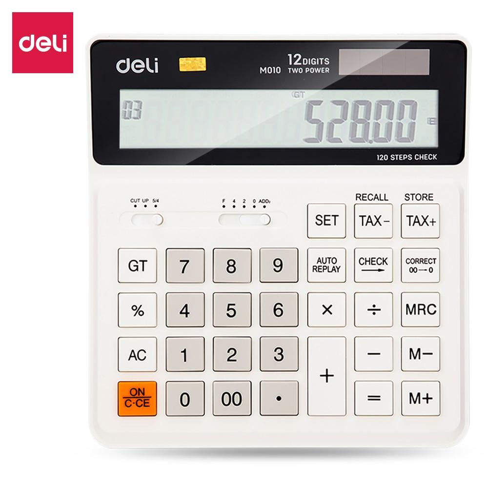 Deli Tax Calculator Check Correct 120 steps EM010 Black White 12 digit dual power business office finance desktop calculator