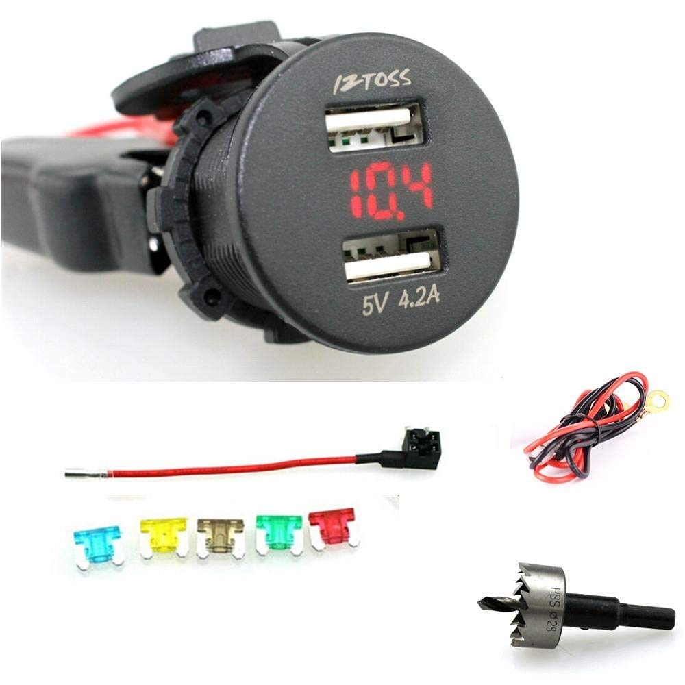 2.1A cargador USB doble resistente al agua cargador de teléfono enchufe de fuente de alimentación con voltímetro rojo y cables de 60cm soporte de fusible perforación de giro