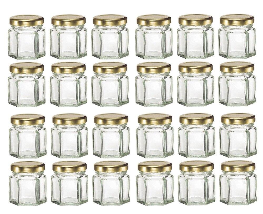 Bocaux en verre, Mini hexagone, 45ml, 24 pièces, avec couvercles or/argent/noir, pour confiture, miel, bonbons, confiture dépices