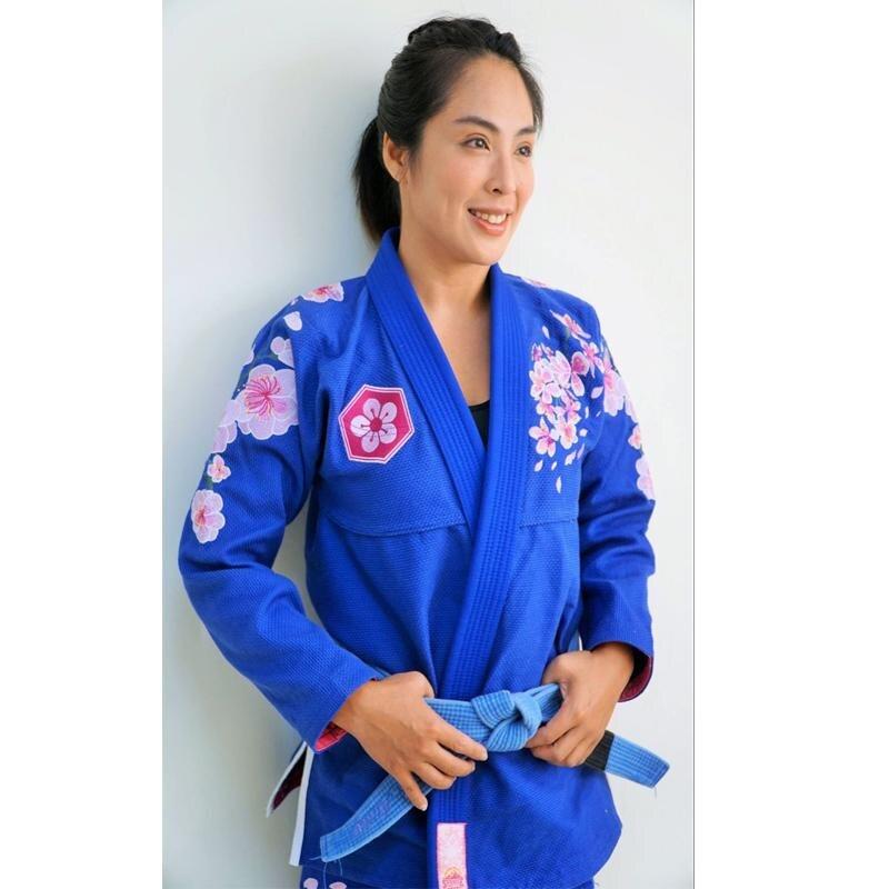 Damas kimonos BJJ amanecer sakura brilian jiu-jitsu gi chica 100% de bjj gi para las mujeres