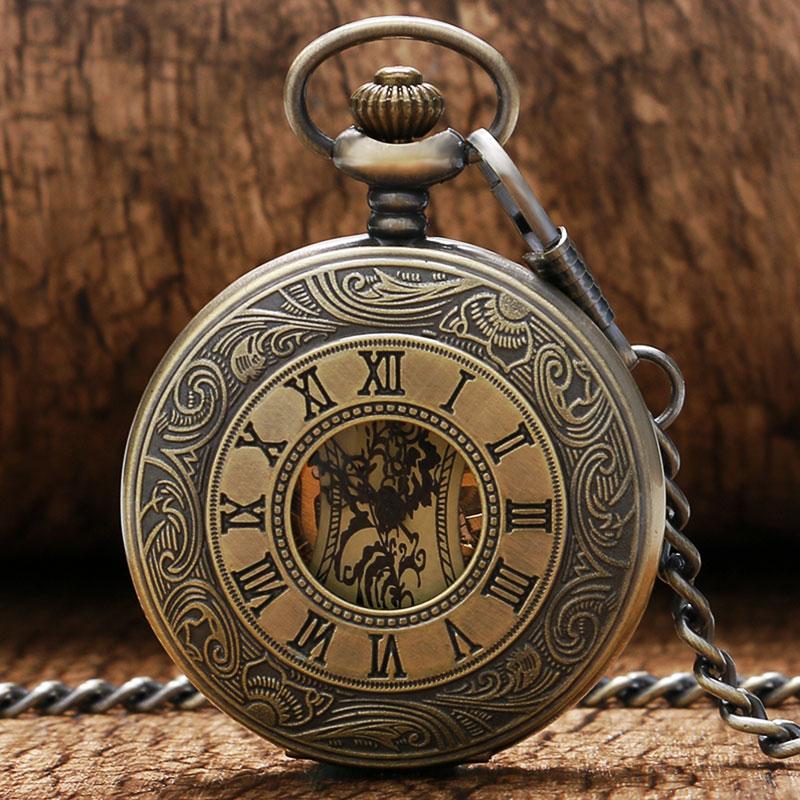 Римские цифры Скелетон часы стимпанк карманные часы с цепочкой бронзовый корпус Роскошный бренд механические карманные часы, рождественск...