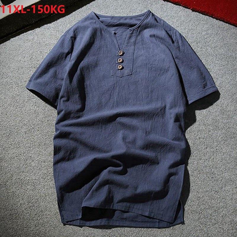 Camiseta de verano para hombre talla grande estilo japonés cuello en V Camiseta de manga corta 7XL 8XL 9XL 10XL negro caqui 150KG 56 58 60 54