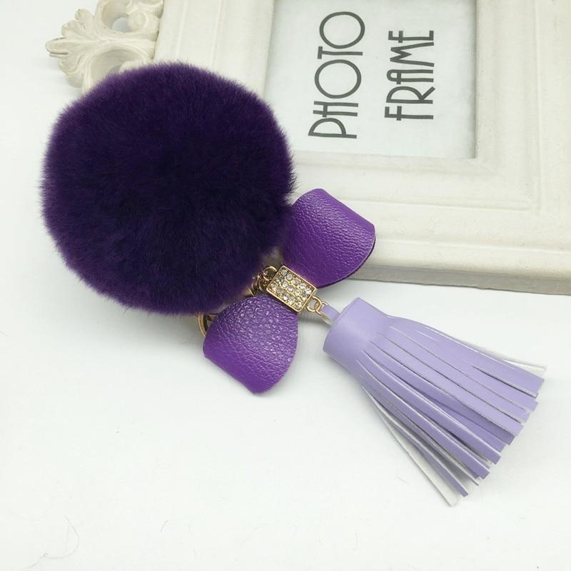 Felyskep  Bowknot Fur Pom Keychain Real Rex Rabbit Fur Ball Key Chains Fur Key Ring Key Chain Bag Pe