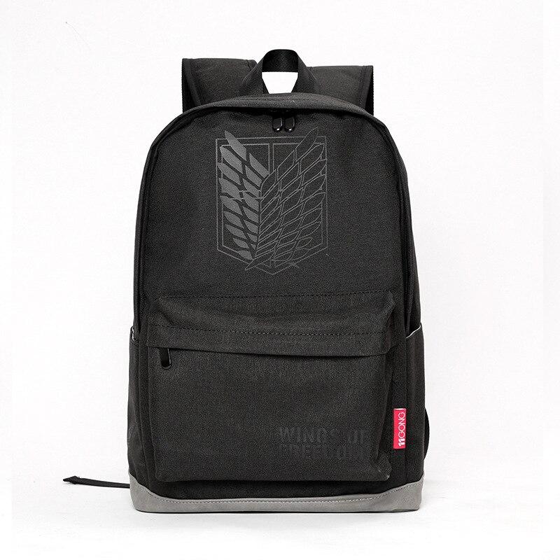 جديد وصول أنيمي هجوم على تيتان أجنحة الحرية الأسود الظهر الطالب المدرسية حقيبة فتاة السفر محمول تأثيري حقيبة