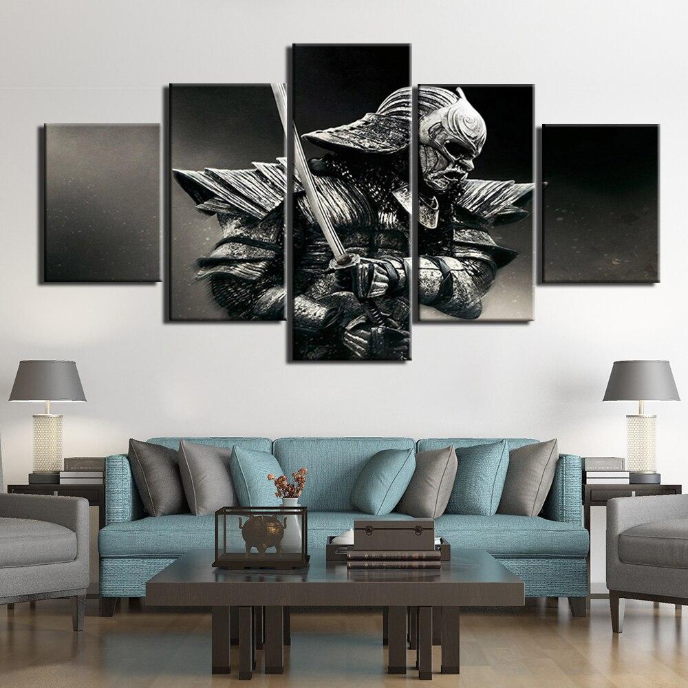 Pintura para arte de pared, lienzo impreso, imagen de guerrero Samurai, 5 piezas, póster con impresiones para la sala de estar, arte moderno para decoración del hogar