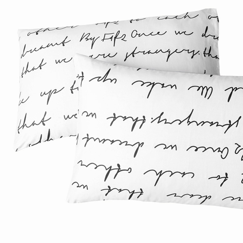 Carta de fundas de almohada regalo de San Valentín almohada set de fundas 2 unids/par 50cm x 70cm 50cmx75cm70x70 de cama decorativa blanco negro amarillo