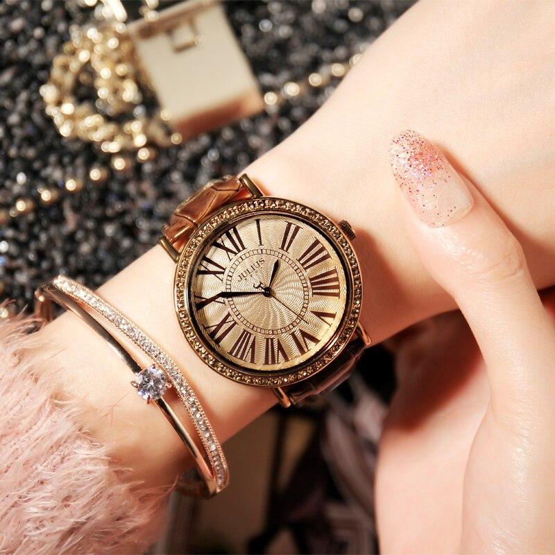 Top reloj Julius para mujer, reloj Retro con diamantes de imitación de moda de gran tamaño, reloj de pulsera de cuero para mujer, regalo de cumpleaños para chica grande sin caja