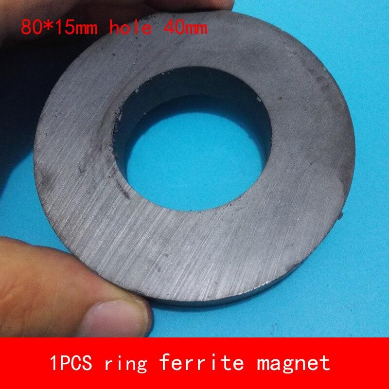 Imanes de altavoz diámetro 80*15mm agujero 40mm temperatura de trabajo-40 a + 220 Celsius anillo de imán de ferrita permanente