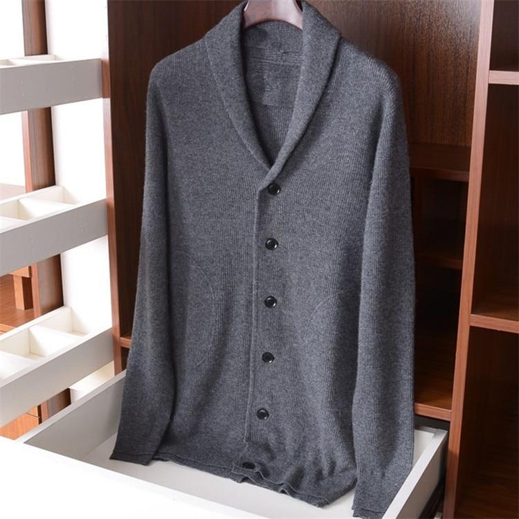 Poliamida lã mistura Vneck homens Inglaterra estilo solto cardigan de malha grossa camisola único breasted S-XL atacado varejo