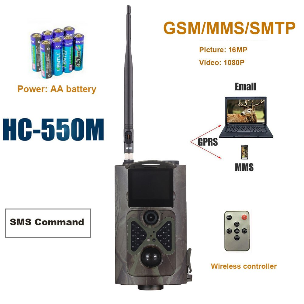 Cámara de caza de visión nocturna HC550M 2G GSM SMS Hunter juego Trail Trap 16MP foto Pir Sensor MMS Email infrarrojo Wildlife Cámara