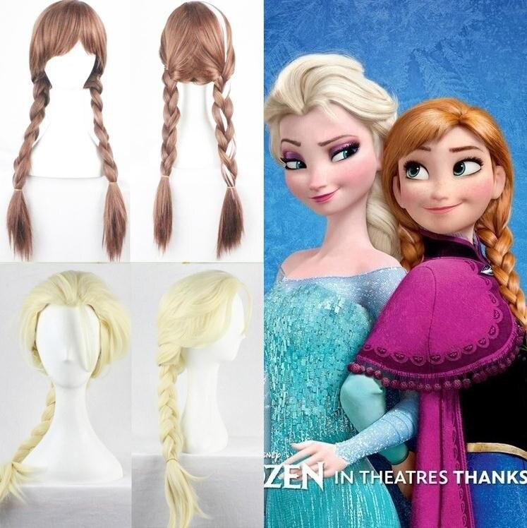 Moda cosplay boneca peruca dos desenhos animados congelados elsa anna neve princesa série halloween cos anime cabelo loiro criança com boneca peruca