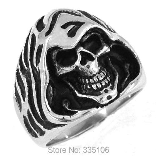 Wholesale Grim Reaper Skull Ring Stainless Steel Jewelry Classic Skull Biker Men Ring SWR0162A