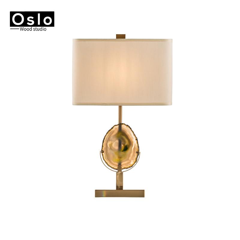 Lámpara de mesa E27 Agate Stone noble con tela de hierro y ágata, lámpara para dormitorio, oficina, mesa decorativa, iluminación de arte, lámpara de Escritorio de decoración