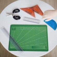 1 Set Cute Mini Dollhouse Miniature Cutting Mat Ruler Scissor for 1/6 Doll Blyth Pullip Accessories