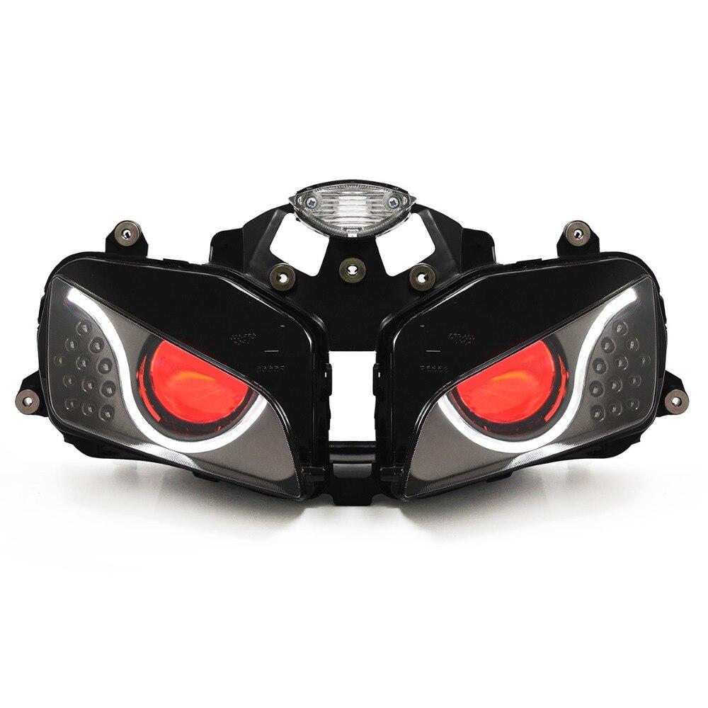 KT LED دراجة نارية الجبهة ضوء المصباح كشافات موتوس مصباح ليد مجموعة مصابيح أمامية led مصباح لهوندا CBR600RR 2003-2006 الأحمر 05