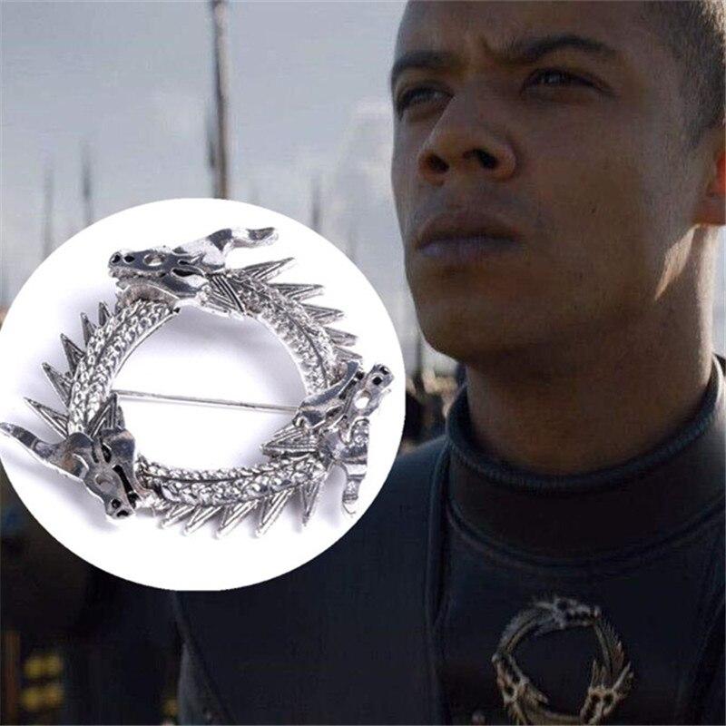 Quente novo filme jogo de tronos imaculados cinza worm broche acessórios cosplay dragão emblema fibula targaryen lembrança broche presente