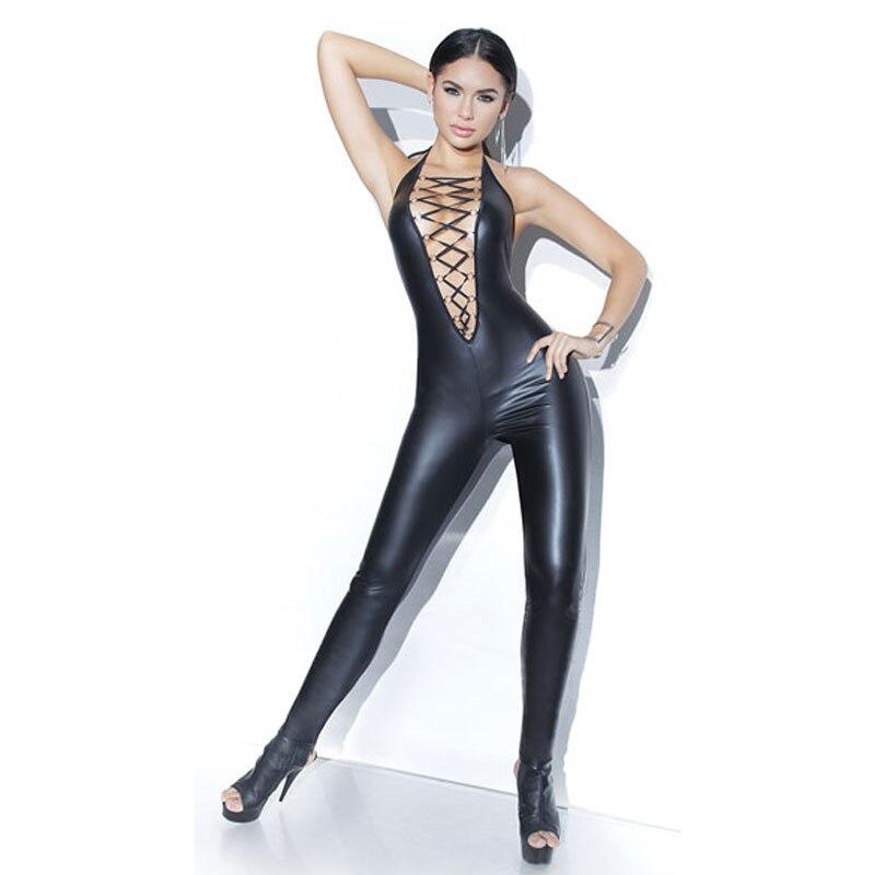 PVC de alta qualidade polido persistente catsuit erótico quente sexy bodysuit das mulheres trajes de Halloween para pole dance