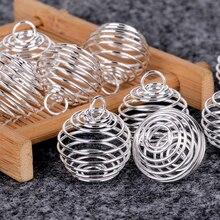 10pcs Shellhard Verzilverd Kettingen Hangers Vintage Spiral Bead Cages DIY Hanger Sieraden Bevindingen 25mm