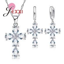 Women Water Drop Crystal Jewelry Sets Statement Necklaces Dangle Earrings Set Fashion 925 Sterling Silver Wedding Jewelry
